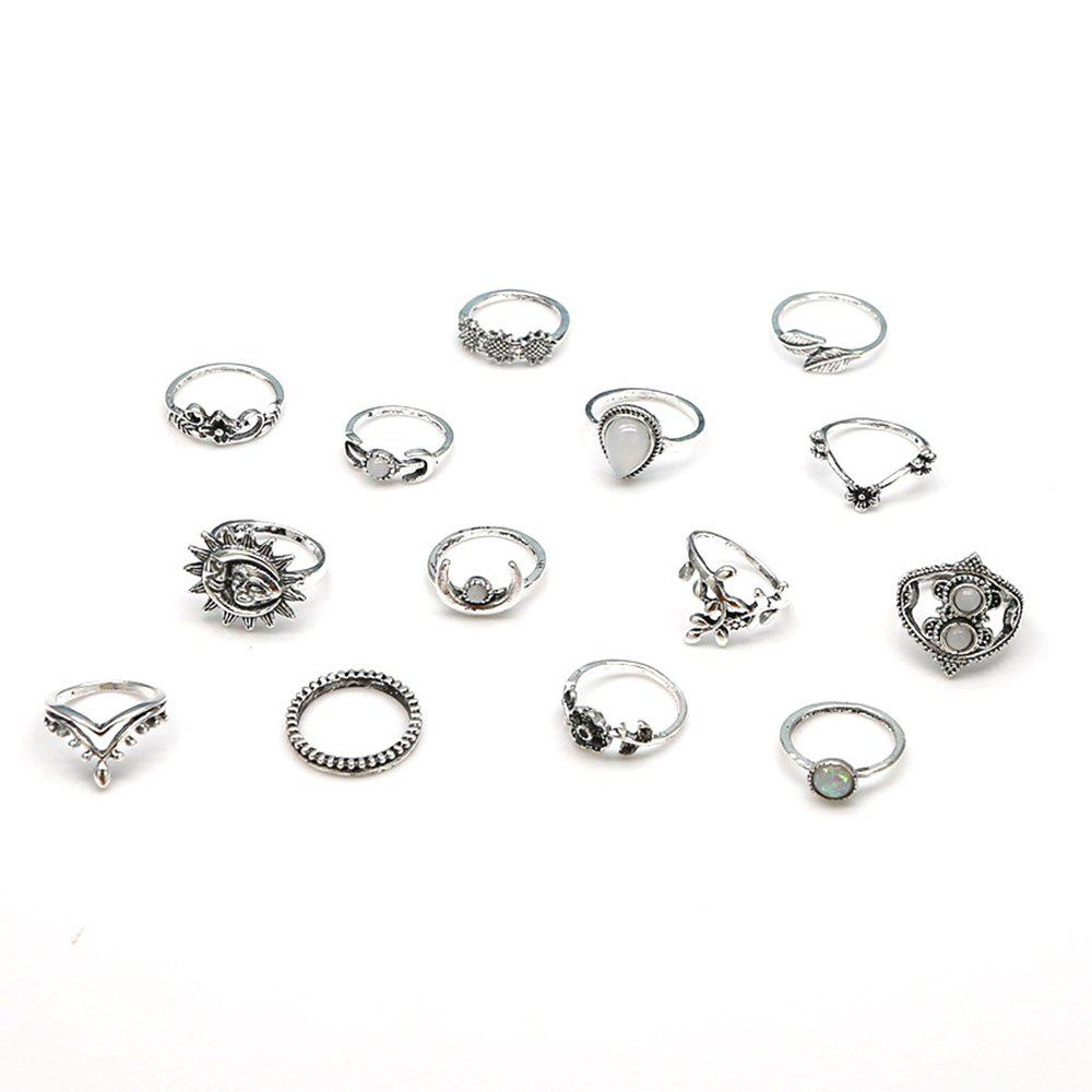 Affordable 14-PIECE Women'S Fashion Ring Vintage Leaf Moon Flower Bohemian Ring