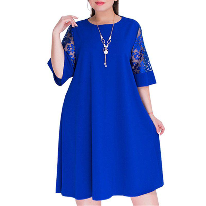 450767a9fcc Affordable Loose Lace summer Dresses big size 2018 Plus Size women  Knee-Length office dress
