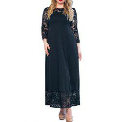 Autumn Winter Large Size Women Dress Patchwork Lace Long Dress Maxi Plus Size -