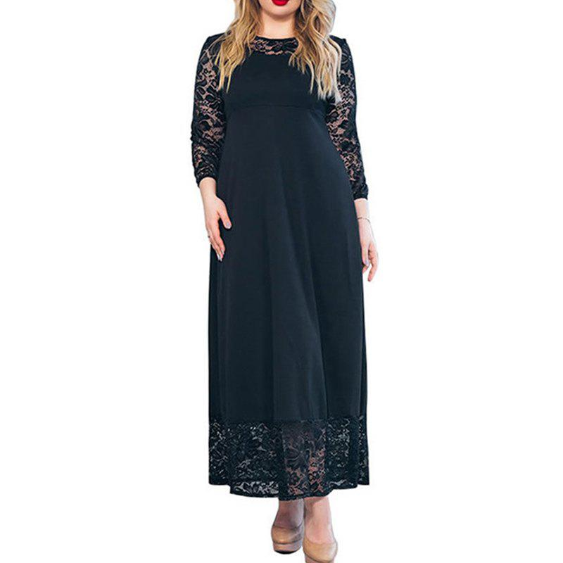 Store Autumn Winter Large Size Women Dress Patchwork Lace Long Dress Maxi Plus Size