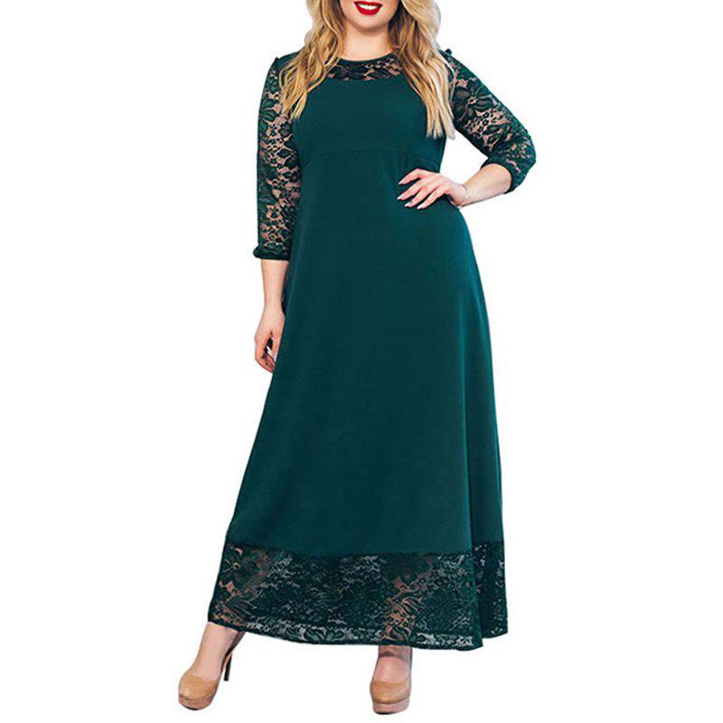 Outfit Autumn Large Size Women Dress Patchwork Lace Long Dress Maxi Plus Size