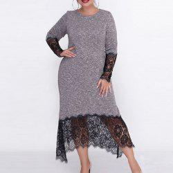2018 Autumn Big Size Women Long Dress Lace Patchwork Plus Size Female Dress Body -
