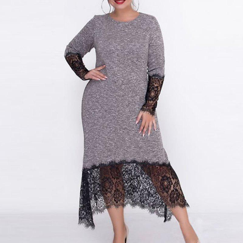 Fancy 2018 Autumn Big Size Women Long Dress Lace Patchwork Plus Size Female Dress Body