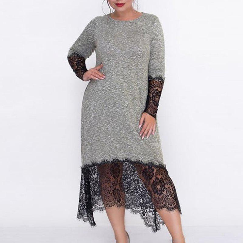 Best Autumn Big Size Women Long Dress Lace Patchwork Plus Size Female Dress Body