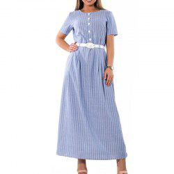 Striped Women Dress 2018 Plus Size Elegant Sashes Female Long Maxi Dress -