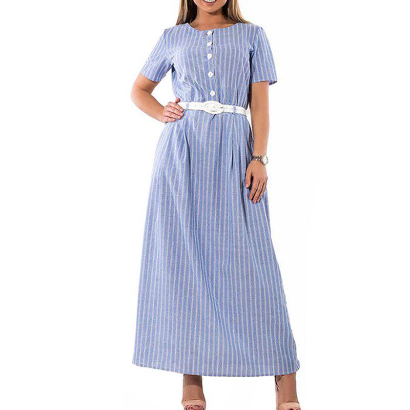 Best Striped Women Dress 2018 Plus Size Elegant Sashes Female Long Maxi Dress