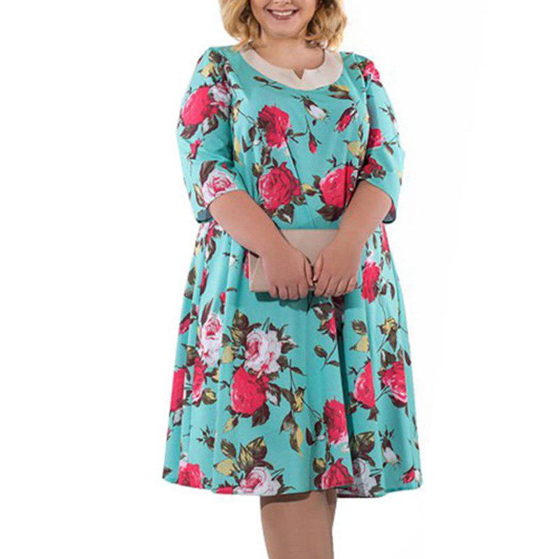 45% OFF] New Plus Size Floral Print Rose Women Dress Big Size Summer ...