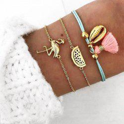 3 PCS/Set Vintage Flamingo Watermelon Shell Charm Bracelets Set for Women Multil -
