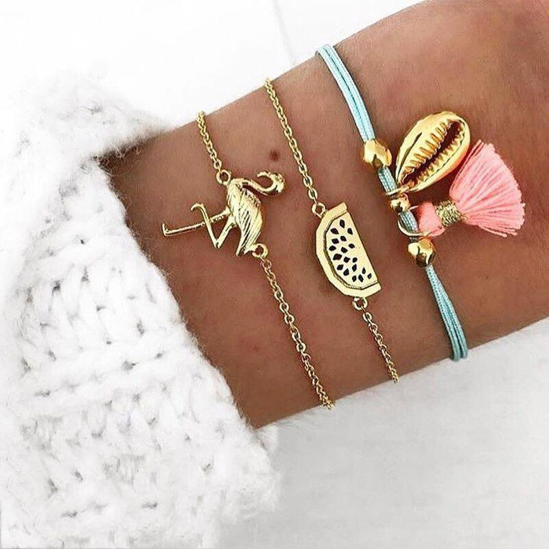 Hot 3 PCS/Set Vintage Flamingo Watermelon Shell Charm Bracelets Set for Women Multil