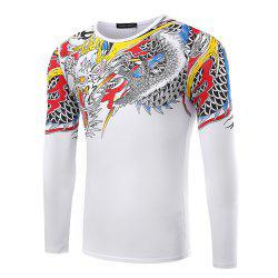 Men's Round Neck Solid Color Dragon Print Long-Sleeved T-Shirt -