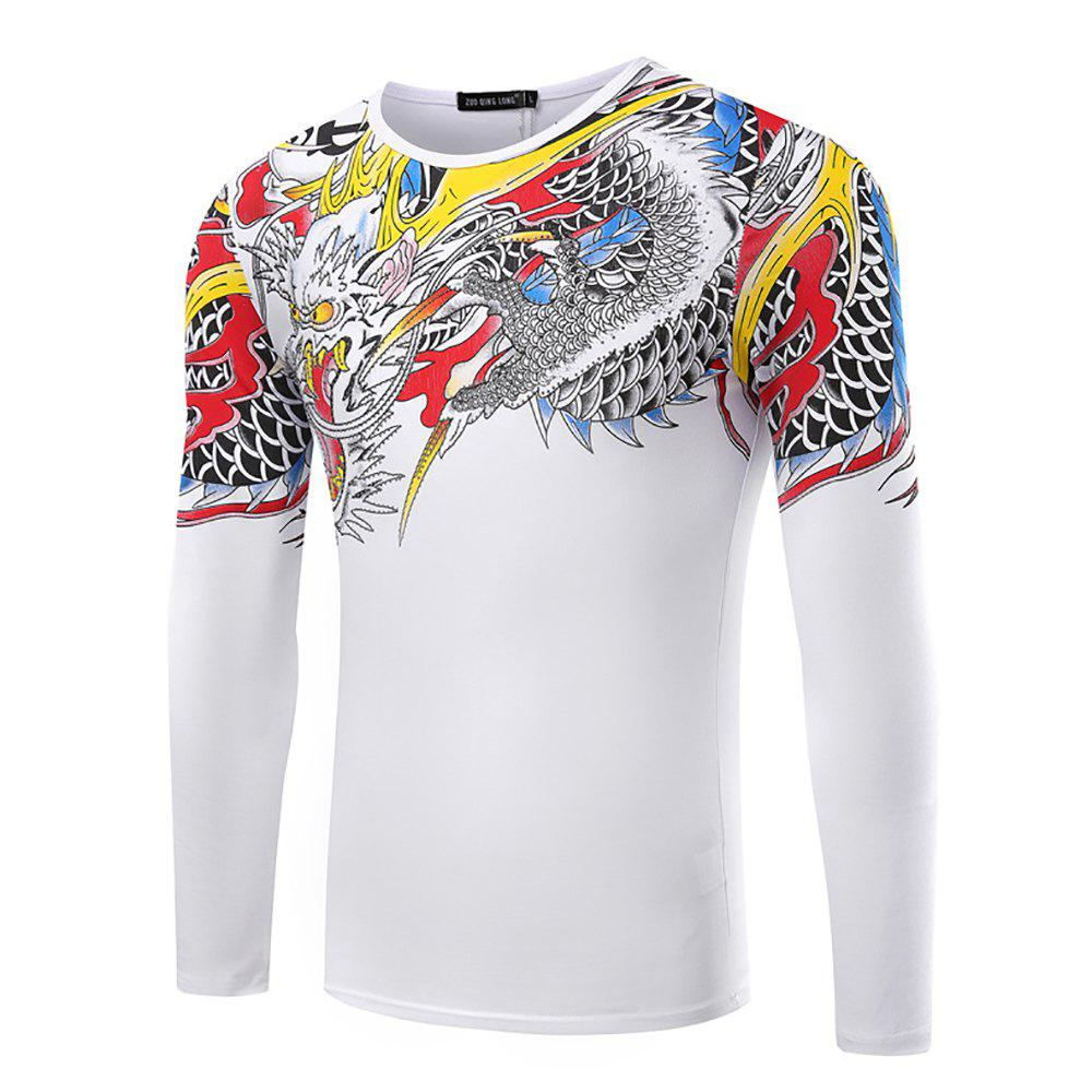 Shop Men's Round Neck Solid Color Dragon Print Long-Sleeved T-Shirt