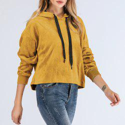 Long Sleeve Round Collar Solid Color Cap Hood Sweater -