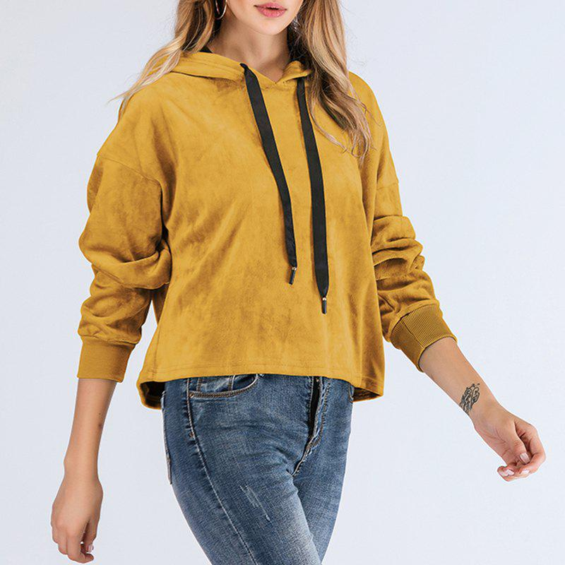 Buy Long Sleeve Round Collar Solid Color Cap Hood Sweater