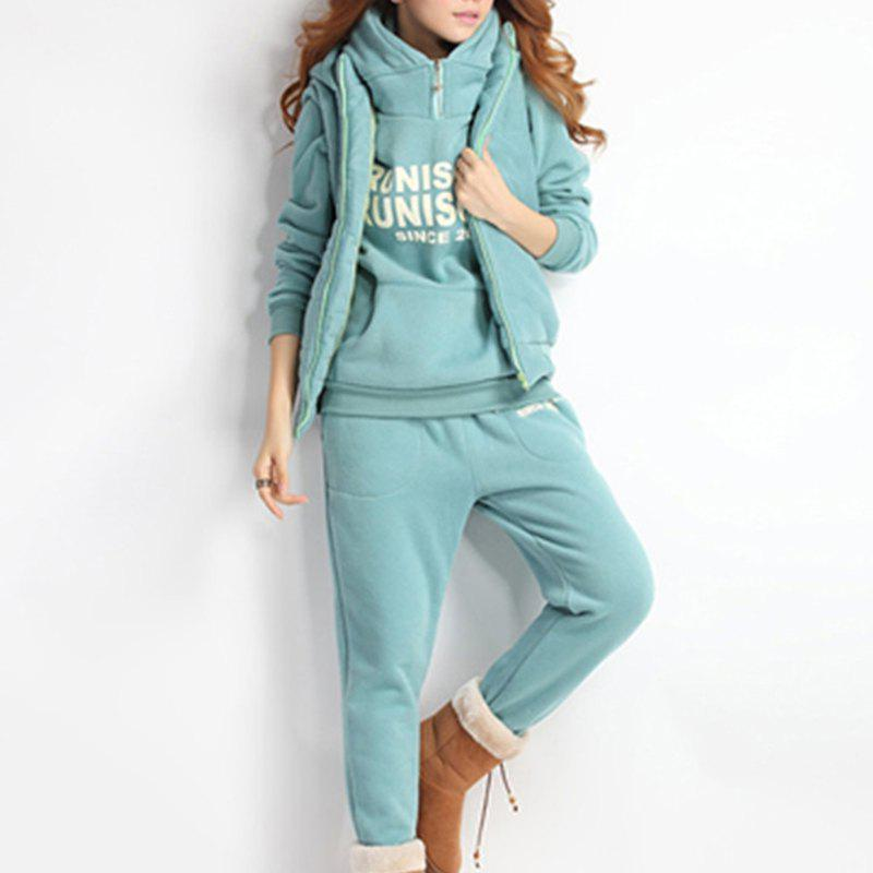 Outfit Autumn and Winter Casual Hooded Sweater Sports Fashion Plus Three Sets of Hair