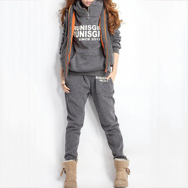 Unique Autumn and Winter Casual Hooded Sweater Sports Fashion Plus Three Sets of Hair
