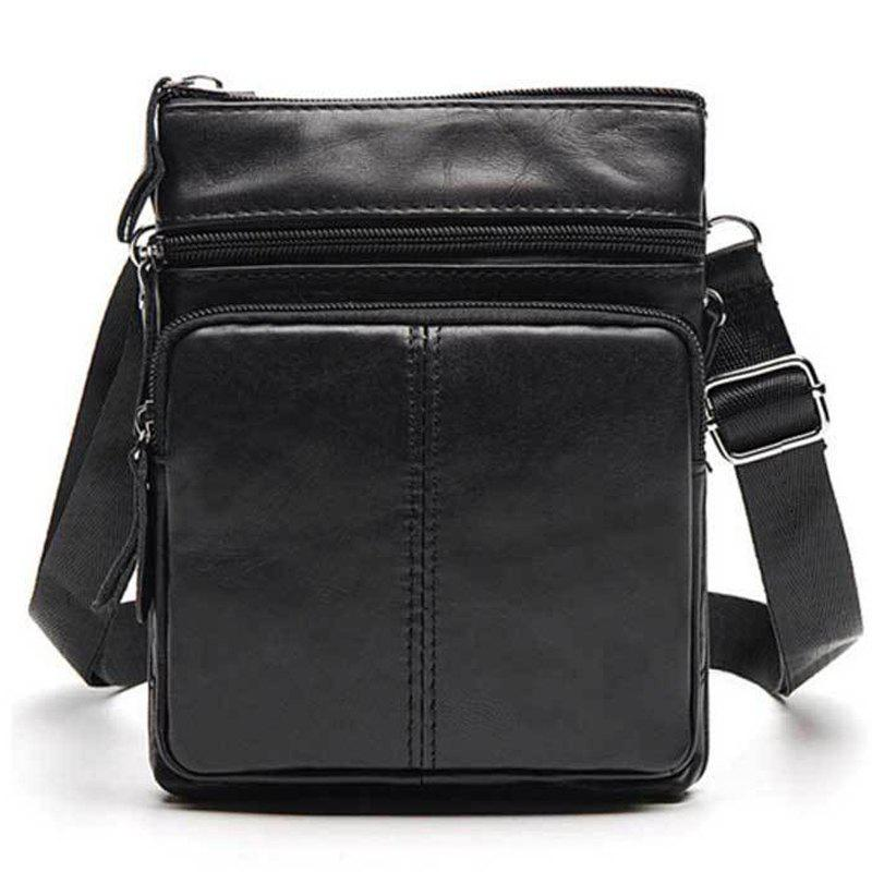 Trendy Men Casual Crossbody Male Fashion Genuine Leather Mini Shoulder Messenger Bag