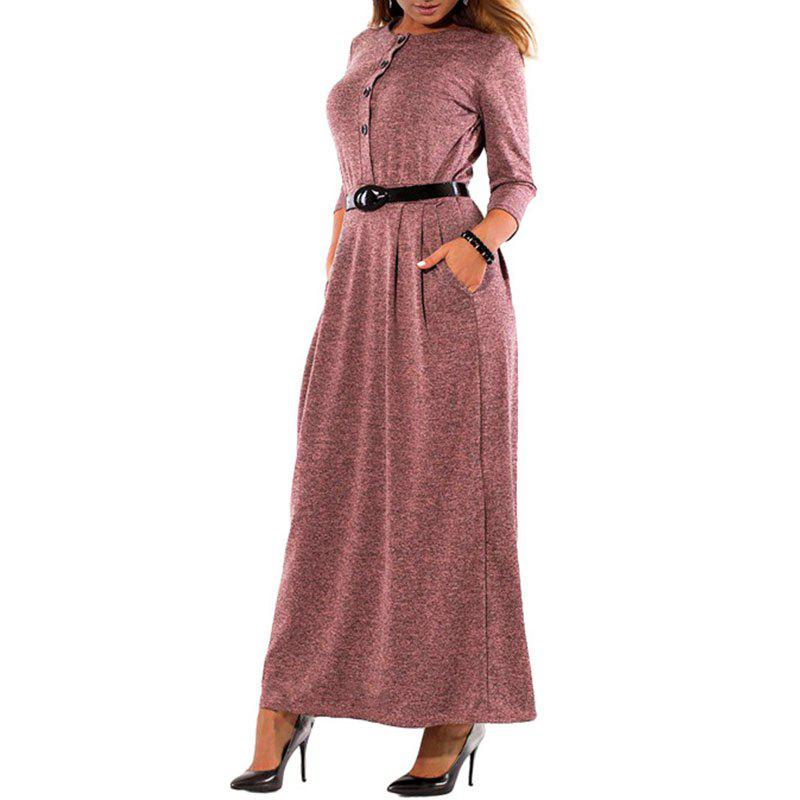 Best Elegant Solid Color Long Sleeve High Waist Single Breast Dress