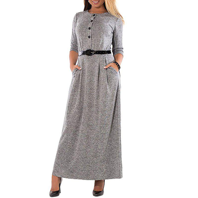 Affordable Elegant Solid Color Long Sleeve High Waist Single Breast Dress