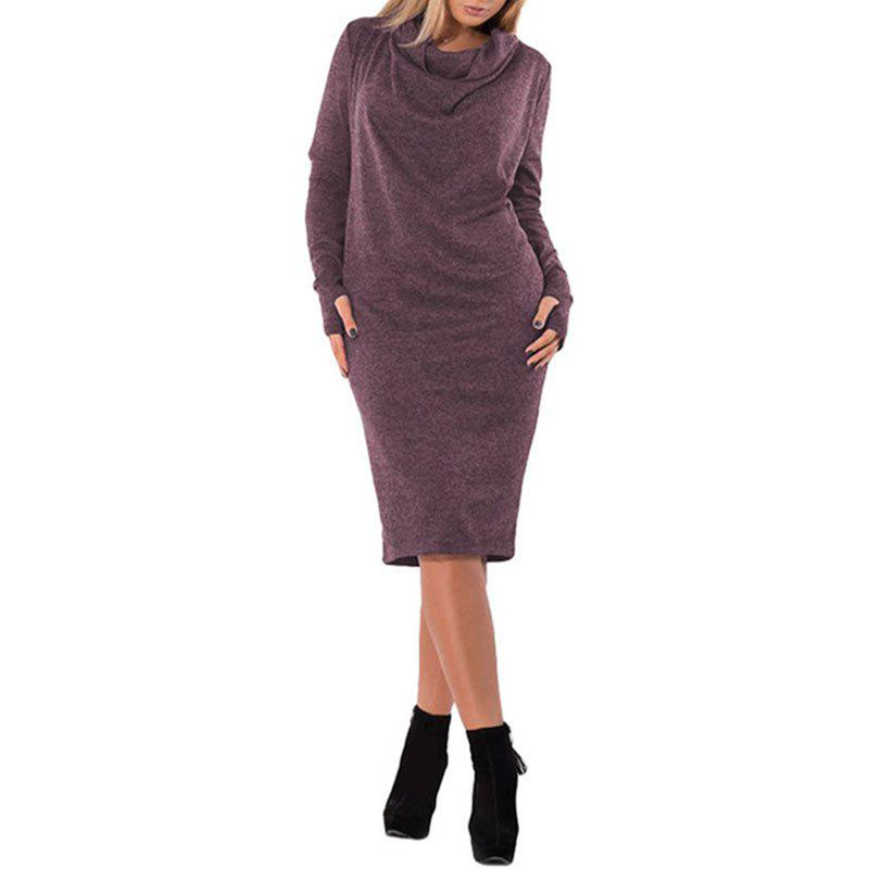Chic Solid Color heaps collar Long Sleeve Double Pockets Dress