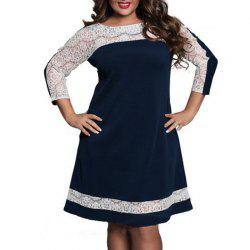 Lace Splicing Long Sleeve Dress -