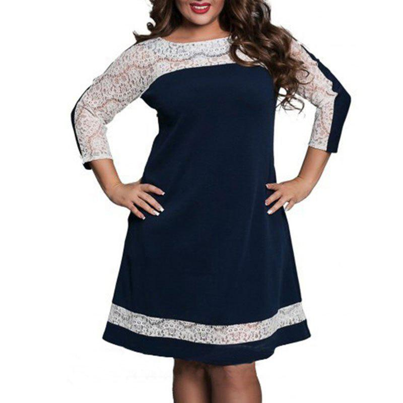 Outfit Lace Splicing Long Sleeve Dress