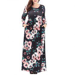 Round Collar Long Sleeve Printing Long Dress -
