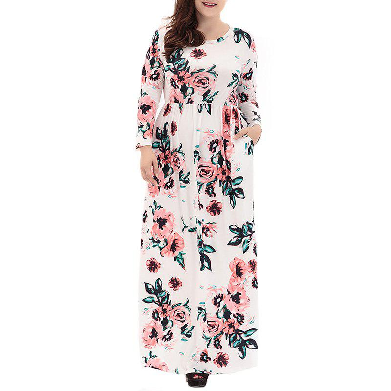Shop Round Collar Long Sleeve Printing Long Dress