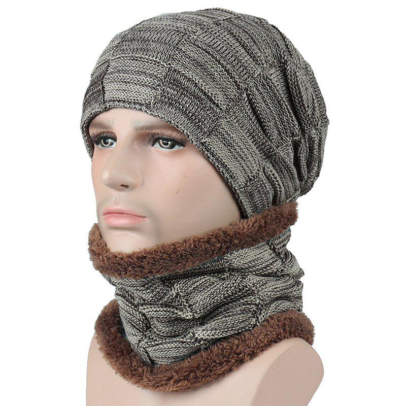 Store New Men and Woman Plaid Faux Fur Warm Lining Cap and Neck Warmer Skullies Beani