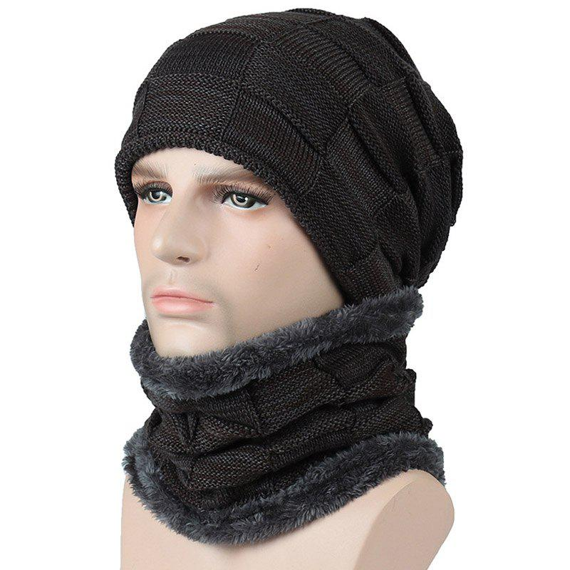 Affordable New Men and Woman Plaid Faux Fur Warm Lining Cap and Neck Warmer Skullies Beani