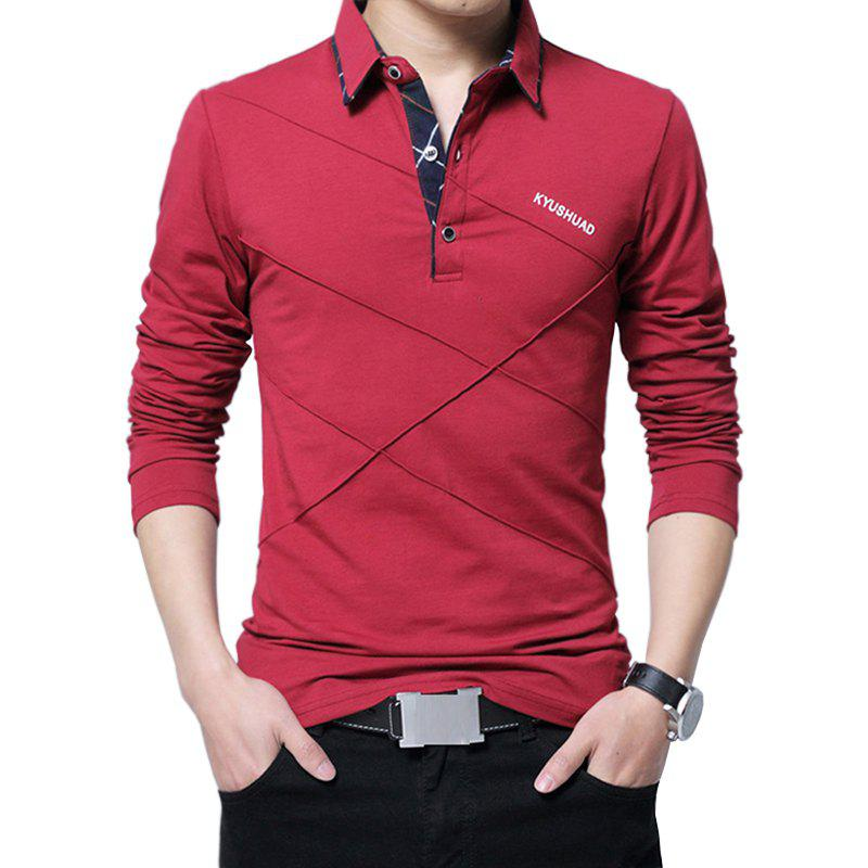 Best New Men Fashion Full Sleeve Turn-Down Collar Korea Casual Solid T-Shirt