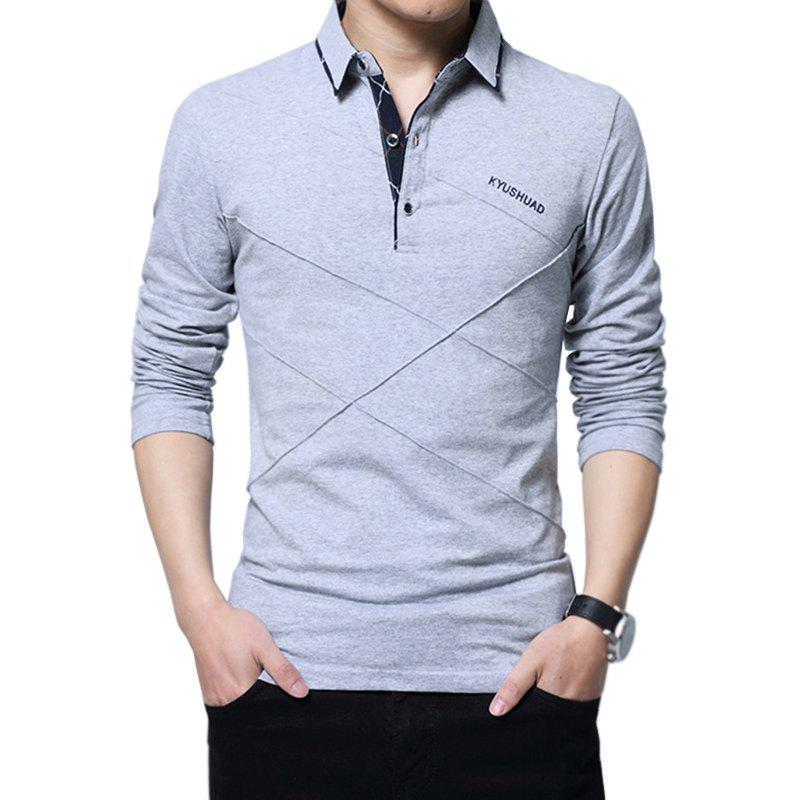 Online New Men Fashion Full Sleeve Turn-Down Collar Korea Casual Solid T-Shirt