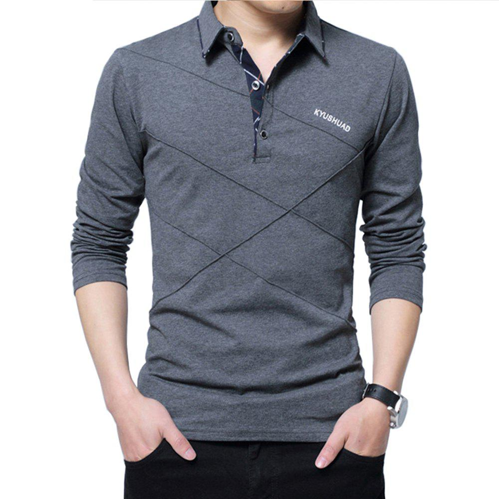 Outfit New Men Fashion Full Sleeve Turn-Down Collar Korea Casual Solid T-Shirt