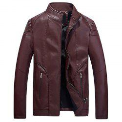 New Men Fashion Full Sleeve Stand Collar Korea Casual Solid Warm PU Jacket -