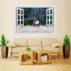 MailingArt Wall Sticker Home Decor False Faux Window Sticker Wild Deer -