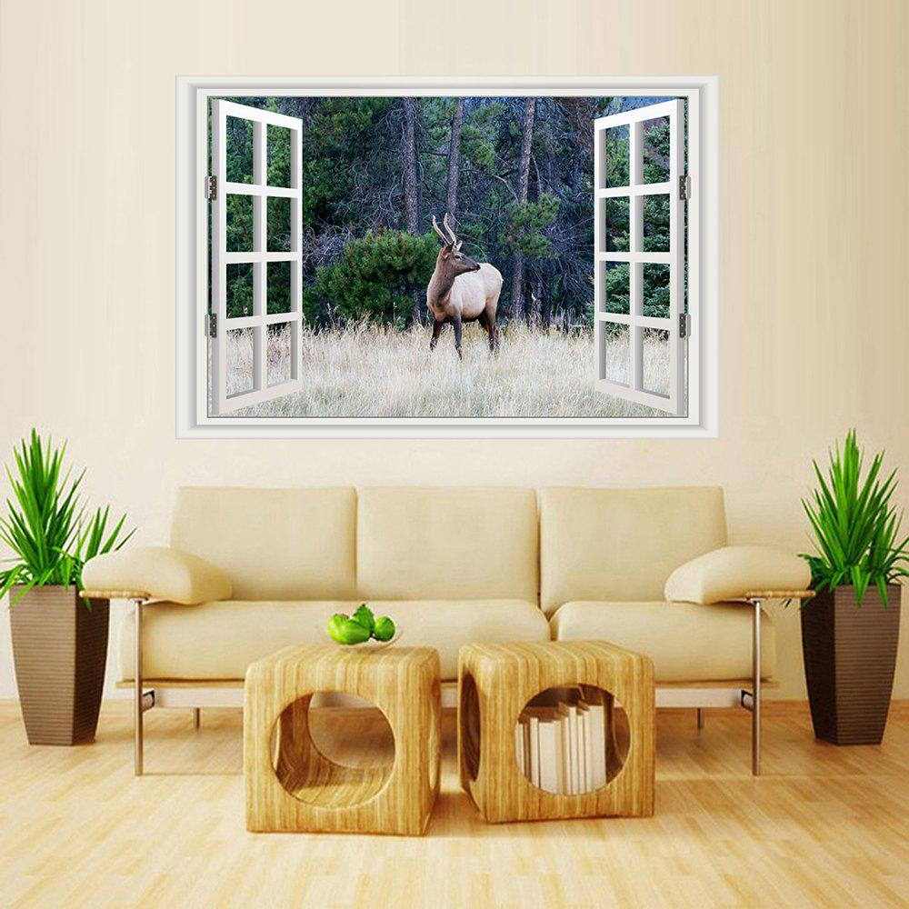 Store MailingArt Wall Sticker Home Decor False Faux Window Sticker Wild Deer