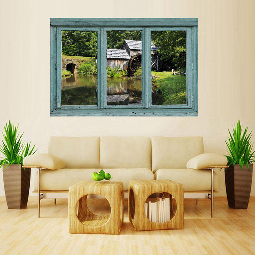 Unique MailingArt Wall Sticker Home Decor False Faux Window Sticker Water Wheel House