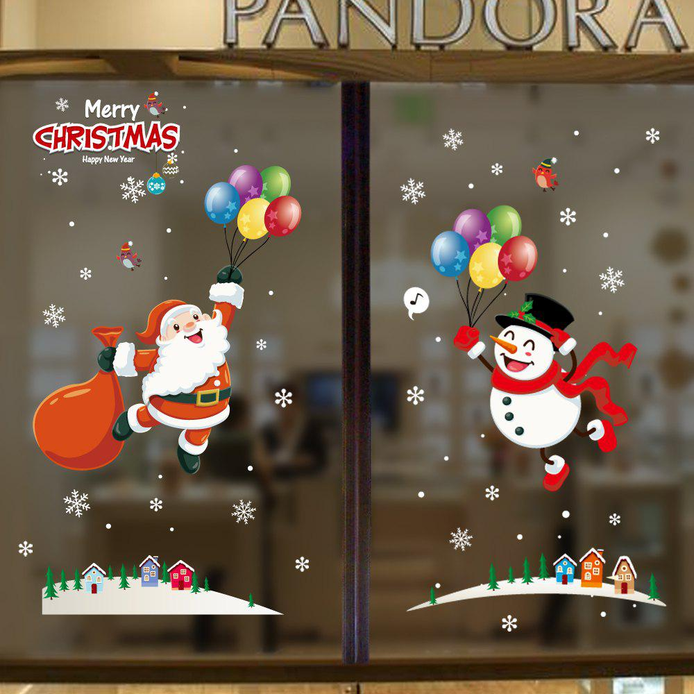 Best 1PC Xmas Decorative Decal Window Stickers Removable (RED)
