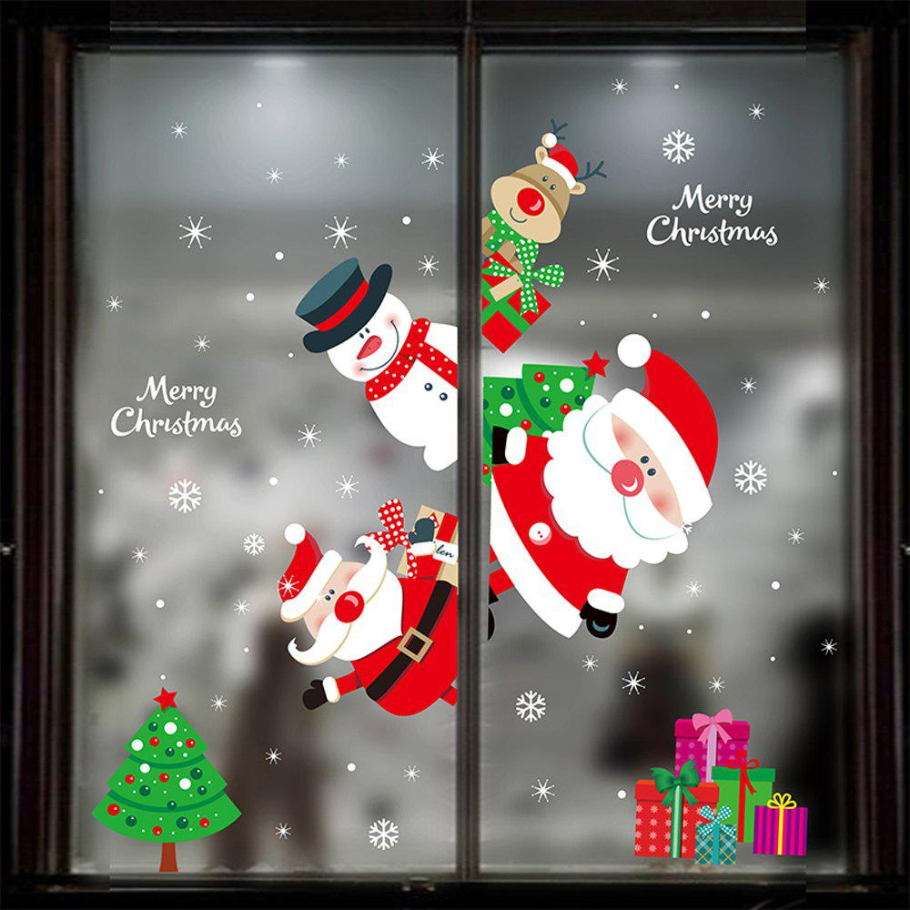 Store 1PC Xmas Decorative Decal Window Stickers Removable (RED)