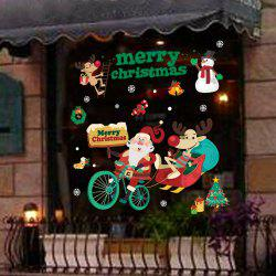 1PC Xmas Decorative Decal Window Stickers Removable (GREEN) -
