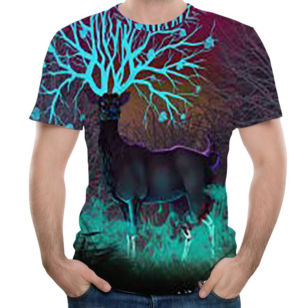 Outfit New Fashion Casual Men Deer 3D Printed Short T-Shirt