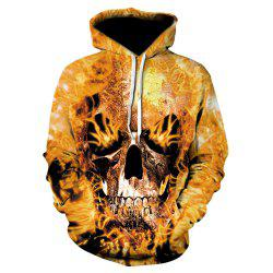 Men New Fashion Casual Fire Skull 3D Printed Sweater -