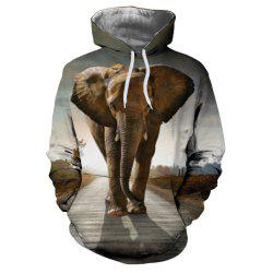 3D Winter Sports Fashion Elephant Print Lady Hoodie -