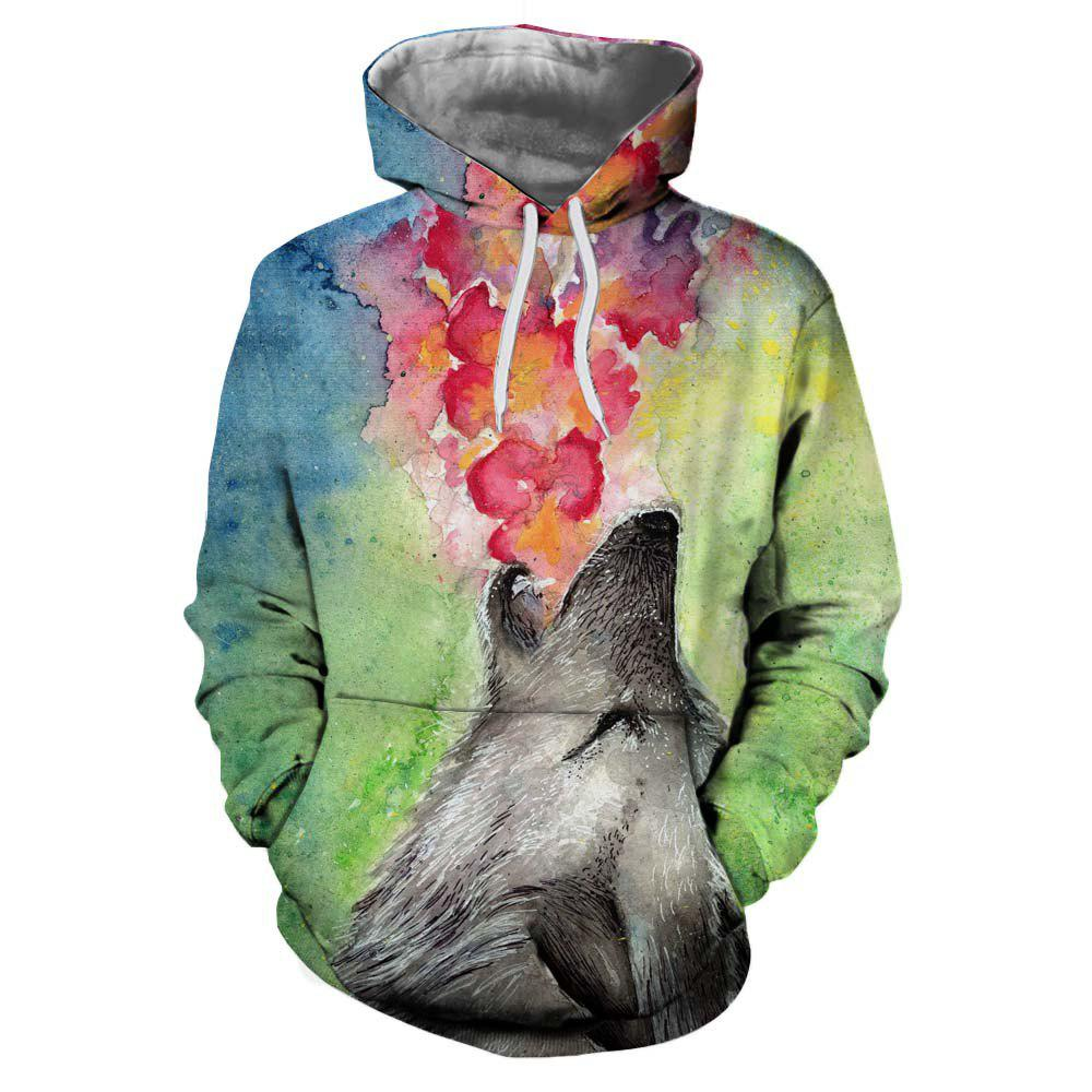 New 3D Fashion Sports Winter Wolf Nozzle Spitfire Print Lady Hoodie