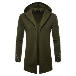 New Solid Color Hooded Cardigan Men's Sweater -