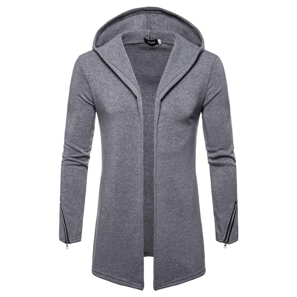 Chic New Solid Color Hooded Cardigan Men's Sweater