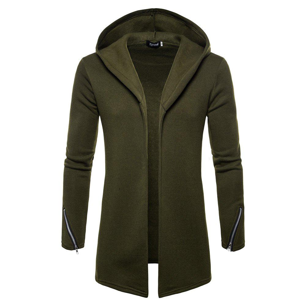 Unique New Solid Color Hooded Cardigan Men's Sweater