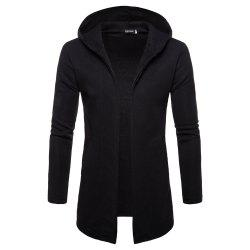 Solid Color Button-Free Cardigan Long-Sleeved Men's Sweater -
