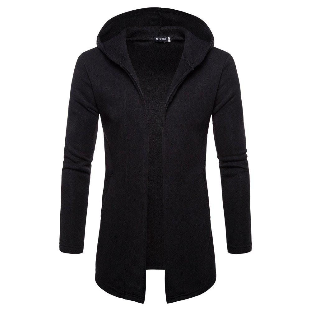 Shop Solid Color Button-Free Cardigan Long-Sleeved Men's Sweater