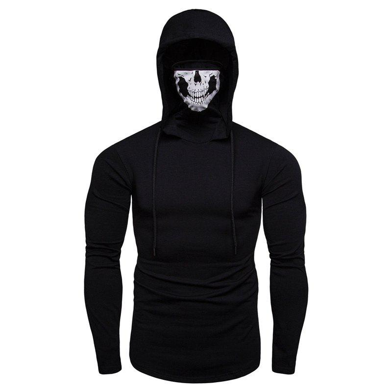 Latest Personalized Printed Face Mask Men's Long Sleeve T-Shirt