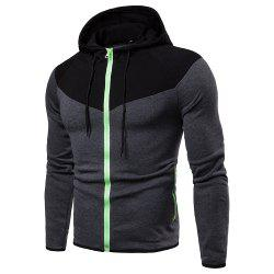 Hooded Fashion Creative Stitching Men's Sweater Coat -